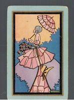 """Playing  SWAP Cards 1 VINT  N/NMD  U.S """" VANITY  """" DECO  LADY &  PARASOL US70"""