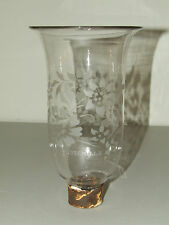 Antique 19th C. DEGRELLE Floral Hand Blown Hurricane Lamp Shades Made in Belgium