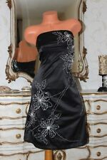 JANE NORMAN Black Shiny Elasticated Faux Satin A Line Embroidered Dress size 8