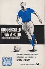 HUDDERSFIELD TOWN v DERBY COUNTY ~ 16 MARCH 1968 ~ FOOTBALL PROGRAMME