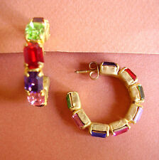 1259 /  BOUCLES D'OREILLE PERCEES STRASS RECTANGLES  DE COULEUR