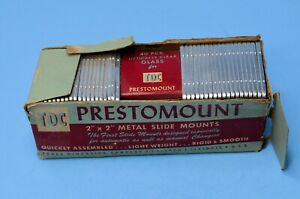 "TDC Prestomount 2 x 2"" Metal Slide Mounts Glass Squares 35 MM org box"
