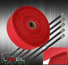 """360""""/30Ft Thermo Heat Wrap Sheild Roll Header Exhaust Intake Manifold Kit Red"""