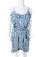 Lilly Pulitzer  Womens Ruffle Trim Dress Blue Pink Size Medium
