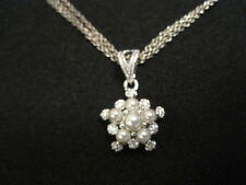 """925 Sterling Silver faux Pearl and Rhinestone Pendant Necklace 17"""" Long"""