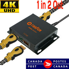 Rasfox 4K HDMI Splitter 1X2 1 in 2 out Hub Repeater Amplifier 1080p,Connect 2 TV