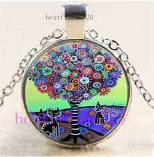 Black Cat Tree Of Life Cabochon Glass Tibet Silver Chain Pendant Necklace