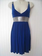 Size 10 Blue Jersey Strappy Mini Dress By Rare, Metallic Grey Straps Party Tunic