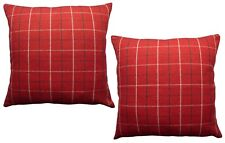 """Pack of 2 - 20""""x20"""" Tartan Style Cushion Covers Red Woven Check Design"""