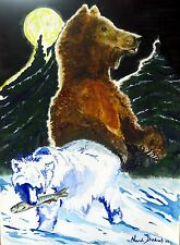 "Original watercolor painting""Bears""by Nardu Debrah,Animals,Size10""x13.5"""