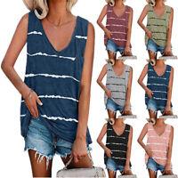 Summer Women Casual Stripe Sleeveless T Shirt V Neck Tank Top Loose Blouse Tunic
