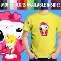Peanuts Snoopy Woodstock Hug Love Valentine Hearts Toddler Kid Tee Youth T-Shirt