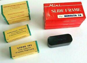 Minolta 16 Film x 5 - Expired 1961 + Minolta Mini Slide Frames x 3