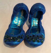Juicy Couture NUOVO Blu Pelle Scarpe Da Sera Pompe GIRLS TAGLIA 12 (EU 31 US 13)