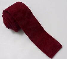 Vintage RARE Woolrich Rooster 100% Wool Burgundy Square Slim Tie Made in USA