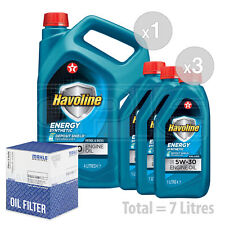 Engine Oil and Filter Service Kit 7 LITRES Texaco Havoline Energy 5w-30 7L