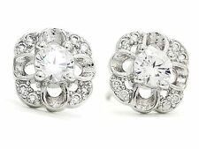 Flower garden stud sterling silver earrings flawless gems with petals gift box