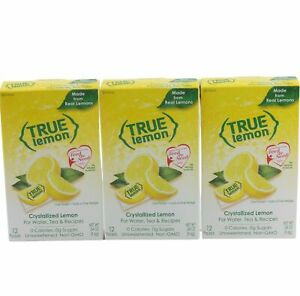 True Lemon Drink Mix Singles Zero Calories No Sugar 3 Boxes 36 Packets