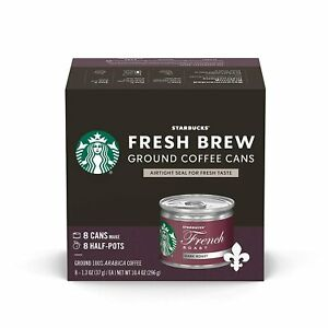 Starbucks Dark Roast FRENCH Fresh Brew Ground Coffee Cans 8 Ct DATE BSB DEC 2020