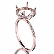 0.2ct Real Dimond Retro ART Semi-mount Ring Setting 18k Rose Gold Round 9.5mm