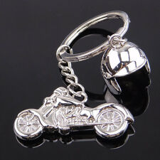 Creative Metal Silver Keychain Alloy Pendant Motorcycle Helmet Key Ring Gift