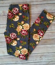 Gray Floral Rose Leggings Red Yellow Roses Print Soft ONE SIZE OS