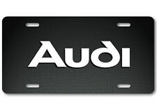 AUDI Aluminum Carbonfiber Metal look Car Auto License Plate Tag Abstract White
