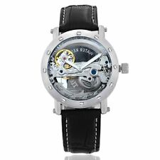 Luxury Steampunk Skeleton Bridge Automatic Mechanical Mens Sport Wrist Watch New