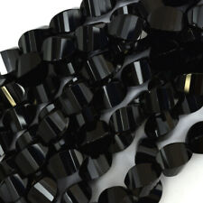 """14mm faceted black onyx twist beads 15.5"""" strand"""