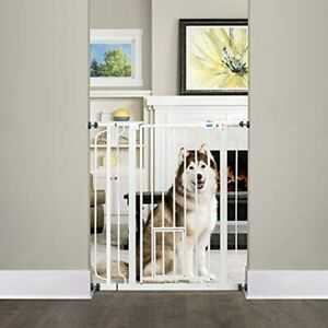 Carlson Extra Tall Walk Through Pet Gate with Small Pet Door, 4 in Extension Kit