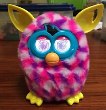 Hasbro Electronic Furby Boom 2012 Pink & Purple White Cubes Yellow Trim Works