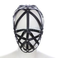 sexy Faux Leather restraint Soft Hood Hollow Mask Headgear head Harness Roleplay