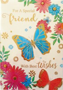 """Traditional Butterflies & Flowers """"SPECIAL FRIEND"""" Birthday Card"""