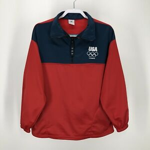 USA London Olympic Large Jacket Pullover 1/4 Zip Red Blue Pockets L Unisex