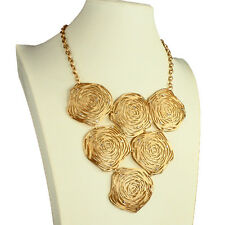 Gold plated crystal large abstract shape statement bib choker necklace