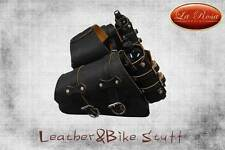 LaRosa Rustic Black HD Sportster Throw-Over Saddle Bag Luggage with Fuel Bottle