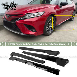 FITS 2018-2021 TOYOTA CAMRY TRD STYLE GLOSSY BLACK 4PCS ADD-ON SIDE SKIRT KIT