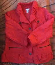 EUC Chico's Women's Red Ruched 3/4 Sleeve Button Thin Jacket Size 1