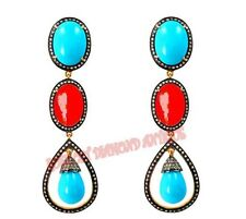 Antique Rose Cut Diamond 1.82ct Silver 925 Coral Turquoise Dangle Style Earrings