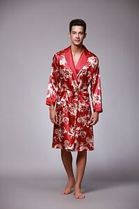 Mens Chinese Japanese Oriental Gold Dragons Red Bathrobe Dressing Gown mrobe8