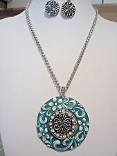 Teal  And Silver Floral Wave Lucite Pendant necklace Earring set