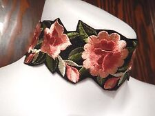 PINK FLORAL EMBROIDERED BAND CHOKER boho peasant collar necklace embroidery T2