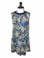 NEW ROBBIE BEE Size 8 Shift Dress Blue Orange White Floral Textured Sleeveless
