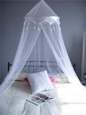 White Satin Crown Mosquito Net Bed Single Double King Midge Insect Fly Canopy UK