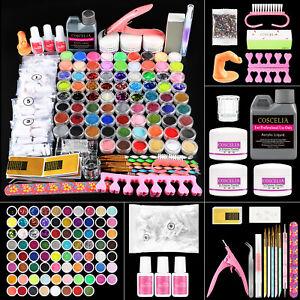 Pro Acrylic Nail Kit Powder 120ML Liquid Brush Glitter Set Tools DIY Tips Kit UK