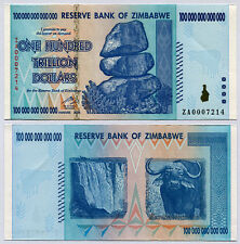 Zimbabwe 100 Trillion Dollars replacement banknote ZA 2008 P91 VF currency bill