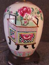 ANTIQUE CHINESE PORCELAIN ROSE MANDARIN DECORATED VASE LAMP