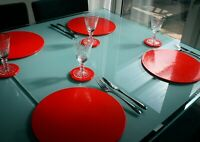 RED table mats / place mats & coasters 4+4. Dishwasher safe. Intech Gecko.