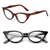 Fashion Cat Eyed Frame Reading Glasses Temple Design Tort Black Brown Cateye New