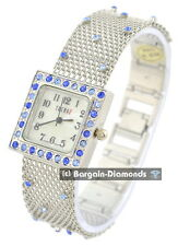 ladies silver tone blue crystals party watch MOP dial mesh bracelet